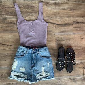 Purple body suit